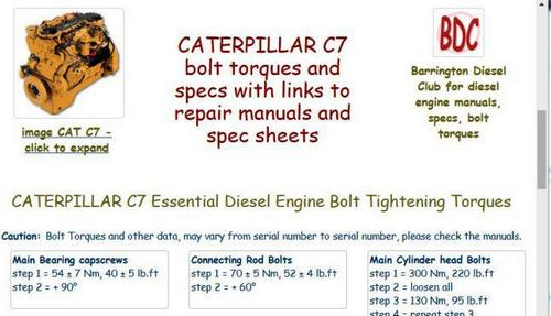 Caterpillar C7 essential specs and key bolt tightening torques