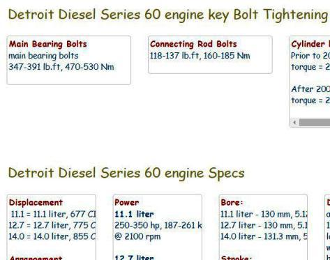 detroit diesel engine specs bolt torques manuals. Black Bedroom Furniture Sets. Home Design Ideas