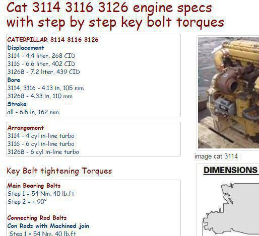 caterpillar diesel engine specs bolt torques and manuals 3114 3116 3126 essential specs snip