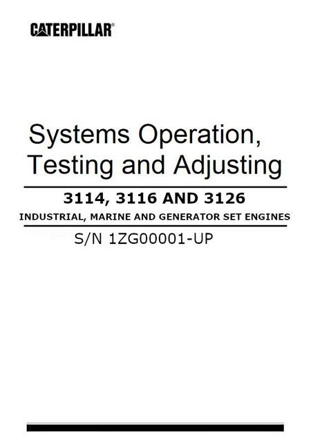 cat 3114 3116 3126 engine manuals and spec sheets 3114 3116 3126 systems operation testing and adjusting manual cover