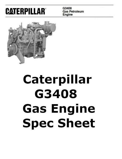 CAT 3408 gas engine spec sheet image