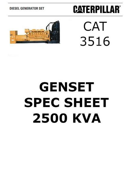cat 3516 genset 2500 kva spec sheet p1 of 6