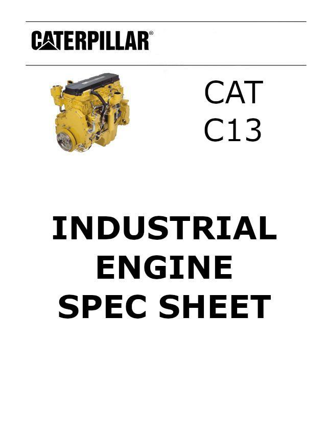 CAT c13 acert industrial engine spec sheet p1 of 3 pages