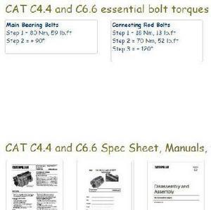 Caterpillar C4.4 and C6.6 essential specs, bolt torques and manuals