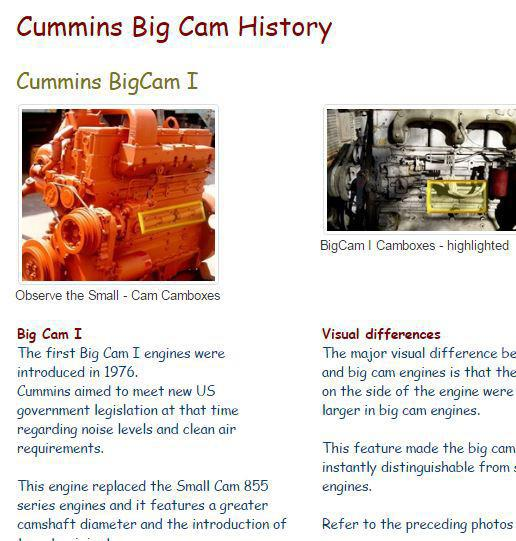 Cummins N855 History and model differences - image snip