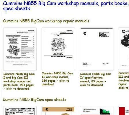 N855 Big Cam Manuals, Spec Sheets, Parts books