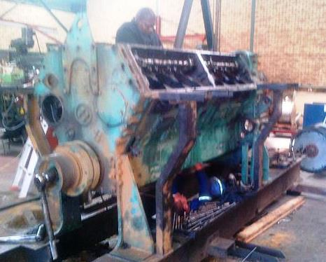 Detroit Diesel 12v149TI engine in process of being stripped
