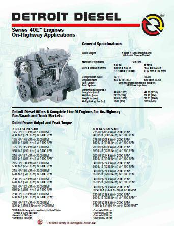 image Detroit Diesel Series 40 Diesel Engine Spec Sheet -  p1 of 2 pages