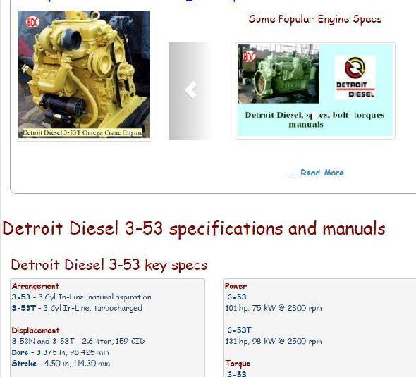 detroit diesel engine specs bolt torques manuals