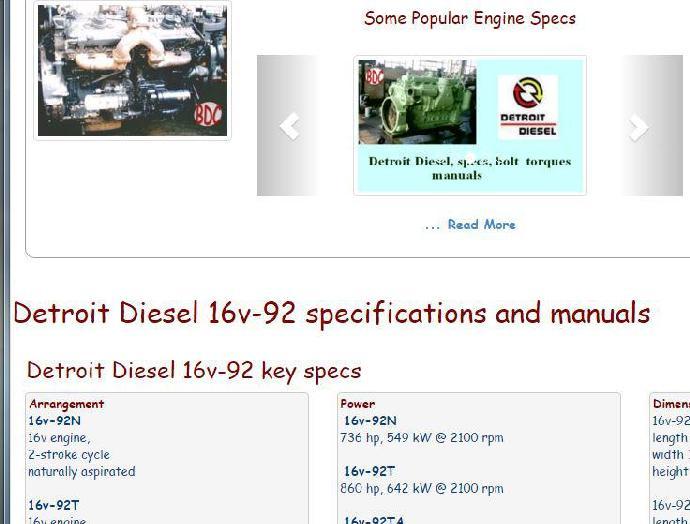 Detroit Diesel 16v92 essential specs snip