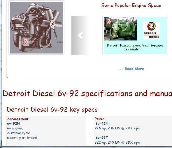 Detroit Diesel 6v92 essential specs snip