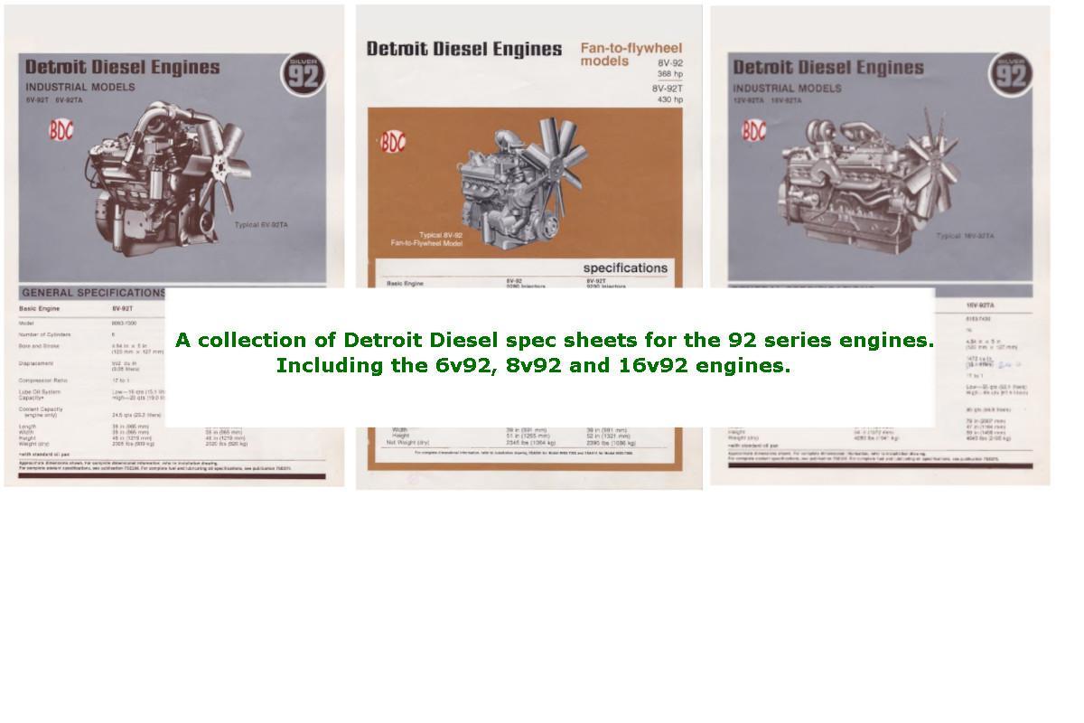 Detroit Diesel v92 engines spec sheet collection p1