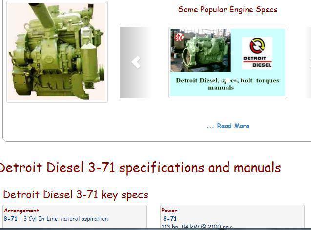 Detroit Diesel 3-71 essential specs snip