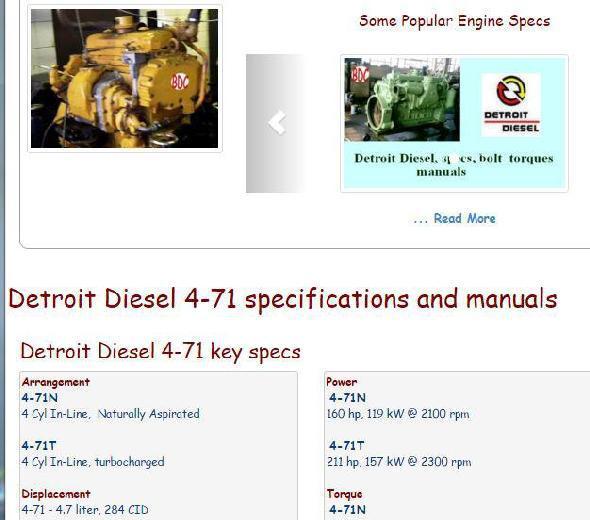 Detroit Diesel 4-71 essential specs snip