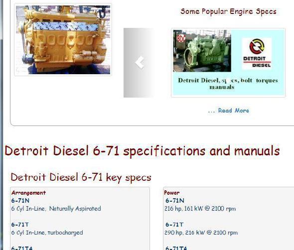 Detroit Diesel 6-71 essential specs snip