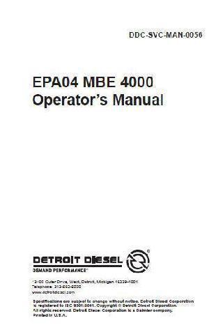 Detroit Diesel MBE 4000 operator manual p1