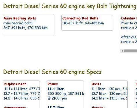 Detroit Diesel series 60 essential specs snip