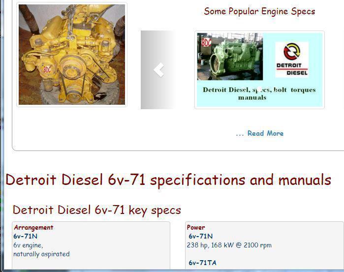 Detroit Diesel 6v71 essential specs snip