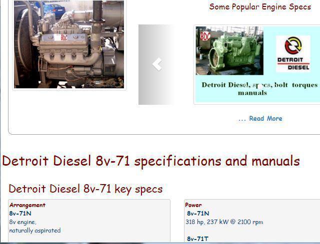 Detroit Diesel 8v71 essential specs snip