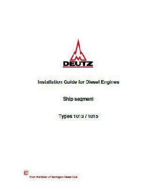 Deutz 1013 1015 installation guide for engines p1