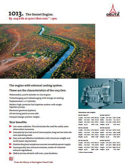 Deutz 1013 spec sheet for gensets p1
