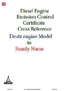 Emission Control Certificate Reference - Deutz Model to Family Name guide
