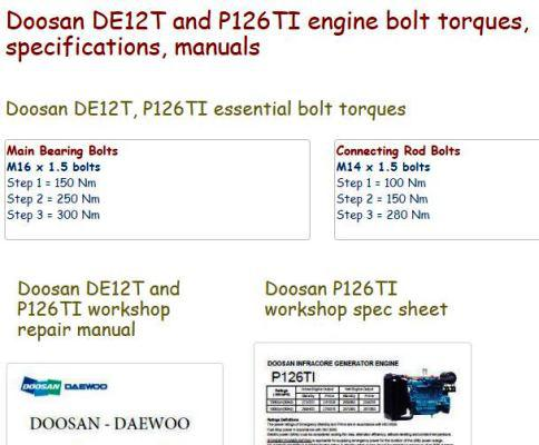 Doosan DE12T, P126TI Diesel engine specs, bolt torques manuals