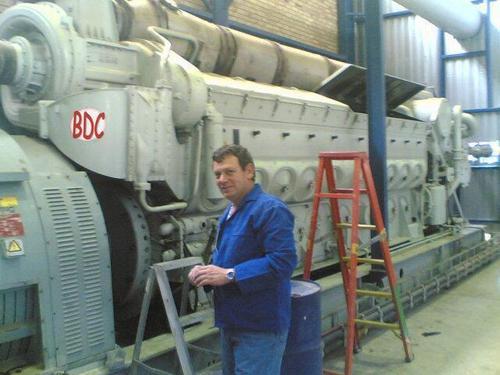working on an EMD 645 twenty cylinder engine