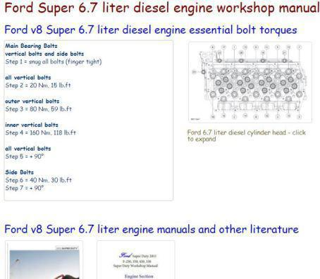 Ford f250-550 6.7L diesel engine essential specs snip