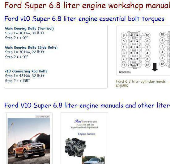 Ford f250-550 6.8 liter essential specs snip