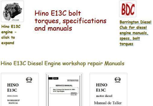 Hino E13C engine manuals, specs
