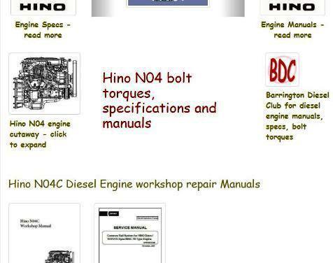 Hino N04 engine manuals, specs