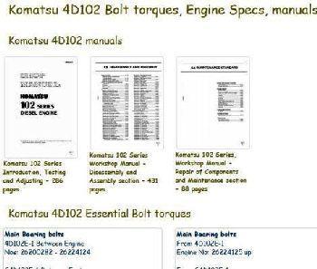 komatsu engine index to specs bolt torques manuals. Black Bedroom Furniture Sets. Home Design Ideas