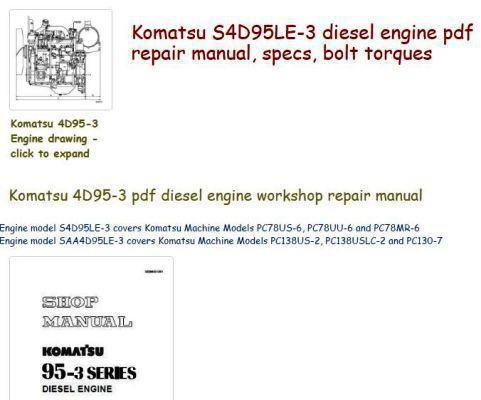 Komatsu 4D95-3 Specs and manuals