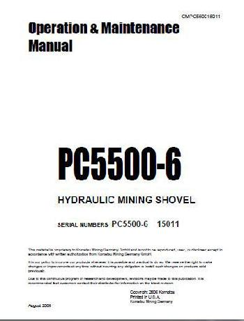 Komatsu PC5500 Operation and Maintenance Manual