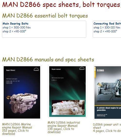 Man D2866 specs, bolt torques, manuals