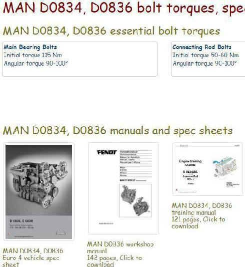Man D0834, D0836 specs, bolt torques, manuals