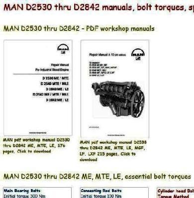 Man D2530 - D2842 specs, bolt torques, manuals
