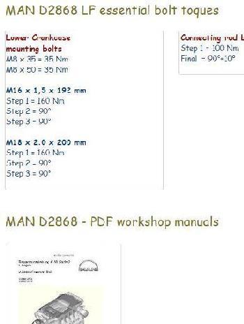 Man 2868 specs, bolt torques, manuals
