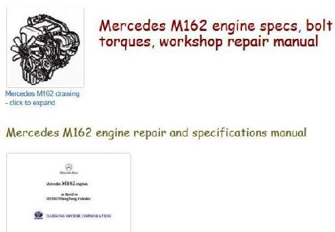Mercedes m162 specs, bolt torques, manuals