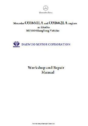 Mercedes OM661 and OM662 workshop repair and specifications manual p1