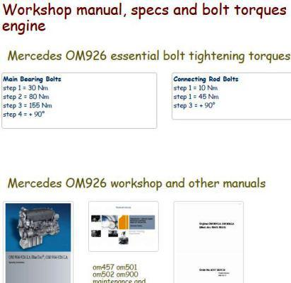 Mercedes om926 specs, bolt torques, manuals