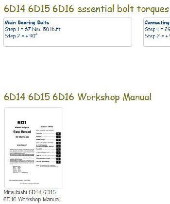 snip - Mitsubishi 6D14 6D15 6D16 essential specs - and workshop manual