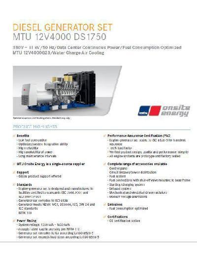 MTU 12v 4000 spec sheet