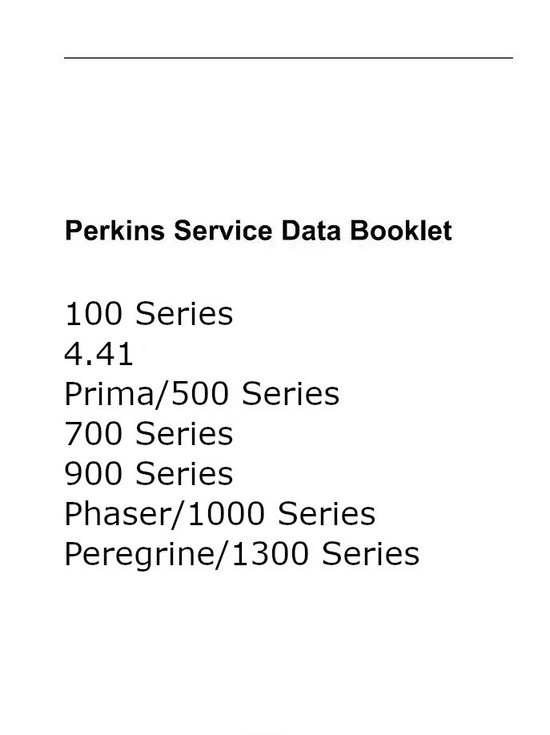 Perkins 100, 1000 PDF service data
