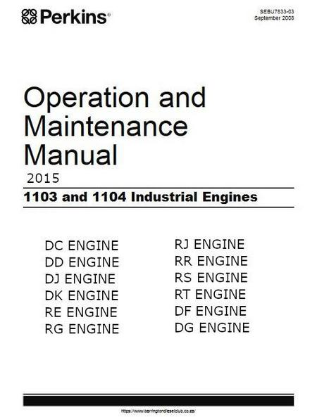 Perkins 1103, 1104 operation and maintenance manual 2015 p1
