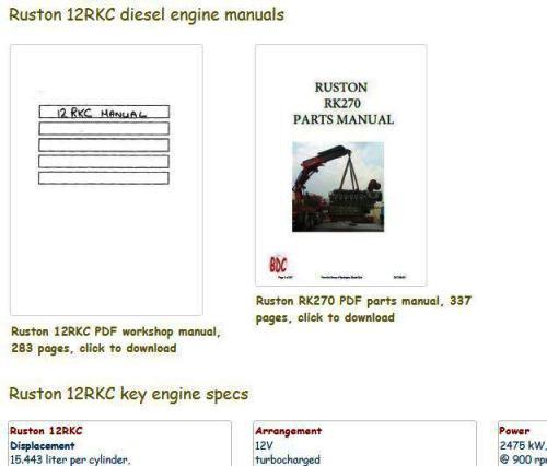 Ruston 12RKC essential specs snip