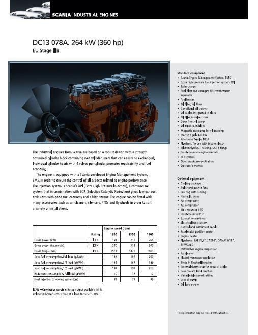 Scania DC13 spec sheet p1