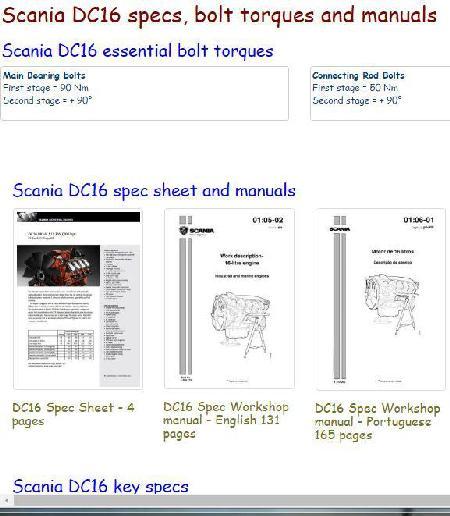 Scania DC16 essential specs - snip