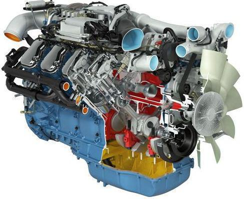 Scania D16, image of cut-away engine